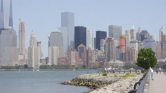 NYC Park Pan Skyline - stock footage