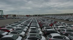 Drone  aerial scene in an import export car parking. Stock Footage