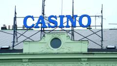 Slowmotion view on house with inscription casino - stock footage