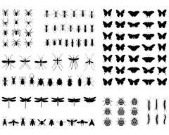 Silhouettes of  insects Stock Illustration