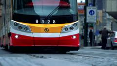 Slowmotion detail view on comes  trolleybus Stock Footage
