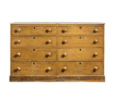 Old chest, dresser isolated on white - stock photo