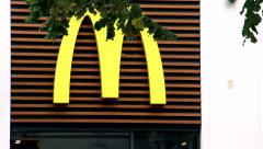 Slowmotion detail view on Mcdonald store Stock Footage