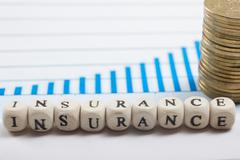 Business concept of risk management by insurance using letter blocks - stock photo