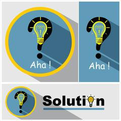 Question mark, light bulb & exclamation mark. - stock illustration