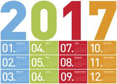 Colorful Calendar for Year 2017, in vector format. - stock illustration