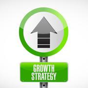 Growth Strategy road sign illustration - stock illustration