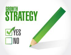 Growth Strategy approval check mark sign - stock illustration