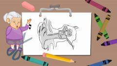 Ears - drawing board - grandma Stock Footage