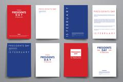 Set of brochure, poster design templates in Presidents Day style - stock illustration