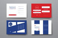 Set of brochure, poster design templates in Presidents Day style Stock Illustration