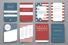 Stock Illustration of Set of brochure, poster design templates in Presidents Day style