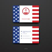 Set of Design Business Card Template in Presidents Day style - stock illustration
