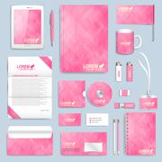 Pink set of vector corporate identity template. Modern business stationery mock Stock Illustration
