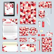 Set of vector corporate identity template. Modern business stationery mock-up Stock Illustration