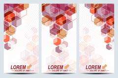 Set of the vector flyers. Background with colorful hexagons. Modern stylish Stock Illustration
