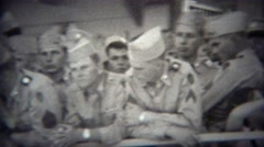1953: Navy military soldiers coming home on cruise ship. Stock Footage