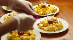 Cheese plate served. Close-up Stock Footage