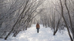 Woman walking at winter park Stock Footage
