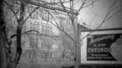 1933: Announcing new Chevrolet model car outdoor billboard sign. Stock Footage