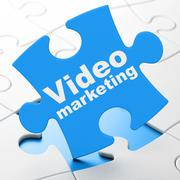 Advertising concept: Video Marketing on puzzle background - stock illustration