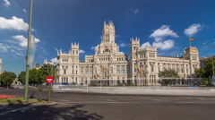 Cibeles fountain and traffic at Plaza de Cibeles in Madrid timelapse hyperlapse Stock Footage
