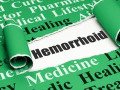 Health concept: black text Hemorrhoid under the piece of  torn paper - stock illustration