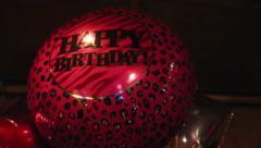 Happy Birthday balloons, dark background - stock footage