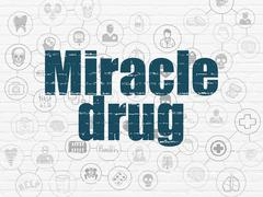 Medicine concept: Miracle Drug on wall background - stock illustration