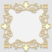 Vector 3D gold frame, festive pattern embossing - stock illustration