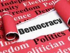 Politics concept: black text Democracy under the piece of  torn paper - stock illustration