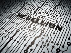 Politics concept: circuit board with Rebellion - stock illustration
