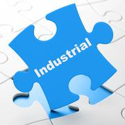 Industry concept: Industrial on puzzle background Piirros