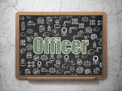 Law concept: Officer on School Board background - stock illustration