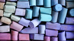Artist Pastel Sticks from above - stock footage