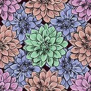 Hand draw seamless floral pattern - stock illustration
