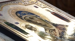 Icon of the altar, shining sunlight  - stock footage