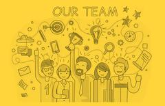 Our Success Team Linear Design - stock illustration
