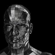 Robot head looking front through the camera - stock illustration
