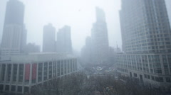 NYC Snow Skyline Stock Footage