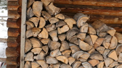 Firewood stacked up. Winter in BC, Canada. - stock footage