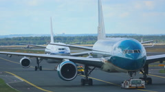 Airplanes towing from service Stock Footage