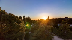 Beautiful sunset timelapse at Sabatini gardens near Royal palace in Madrid Stock Footage