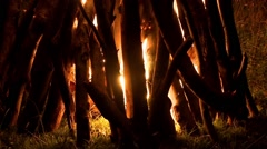 Wood pyre burning in the night 70 Stock Footage