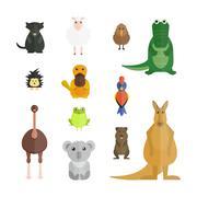 Stock Illustration of Australia wild animals cartoon vector collection