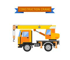 Building under construction crane machine technics vector illustration - stock illustration