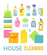 House cleaning hygiene and products flat vector icons set Stock Illustration