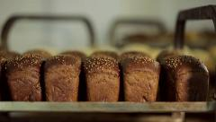 Fresh crispy bread on the shelves Stock Footage