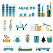 Oil industry flat style vector symbols - stock illustration