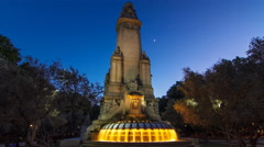 North-eastern side of the Cervantes monument timelapse hyperlapse on the Square - stock footage